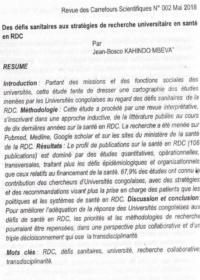 Defis Sanitaires Aux Strategies De Recherche Universitaire En Sante En Rdc