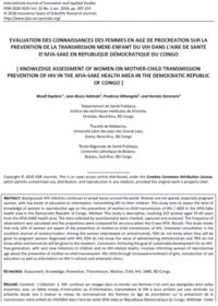 Evaluation Des Connaissances Des Femmes En Age De Procreation Sur La Prevention De La Transmission Mere Enfant 0
